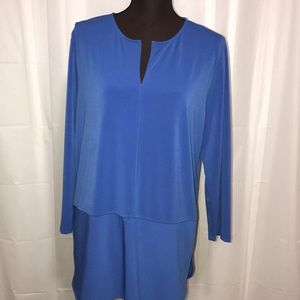 Blue Plus Size 1X Blouse (Pull Over)